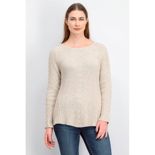 Style & Co Women's Scalloped Hem Ribbed Knit Sweater Beige Size Medium