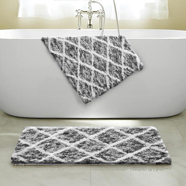 "2-Pack: Ultra-Soft Absorbent 17"" x 24"" Anti-Slip Jacquard Bath Mats"