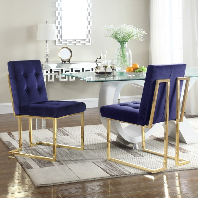 Chic Home Mason Velvet Brass Metal Frame Dining Side Chair (Set of 2)