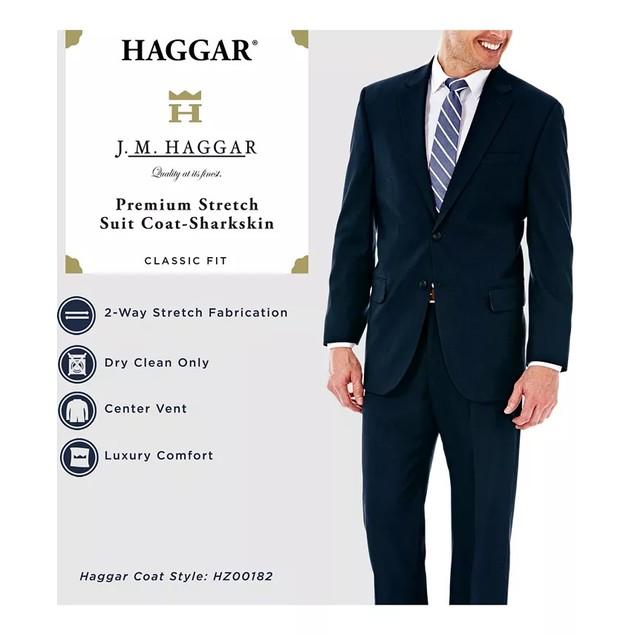 Haggar Men's Classic/Regular Fit Stretch Sharkskin Suit Jacket Gray Size 40