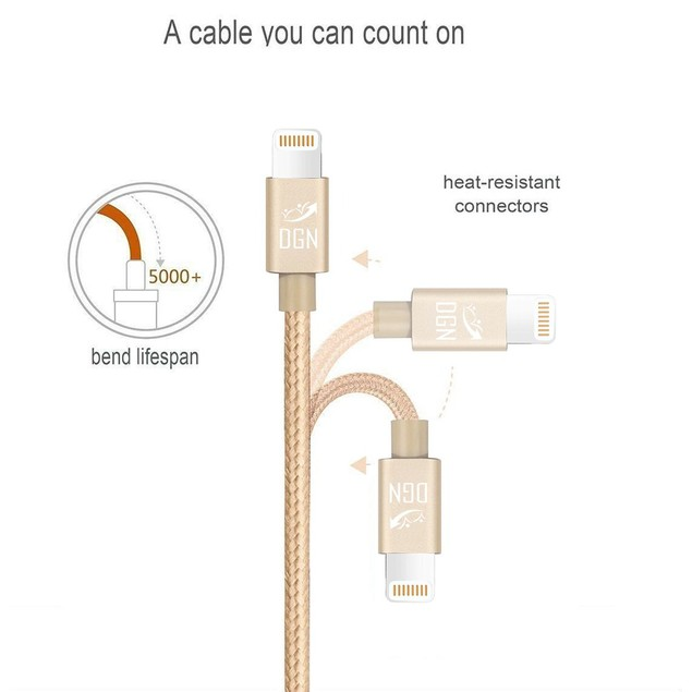 3-PACK Braided Lightning Charging Cables for iPhone, iPad, iPod (3-Feet)
