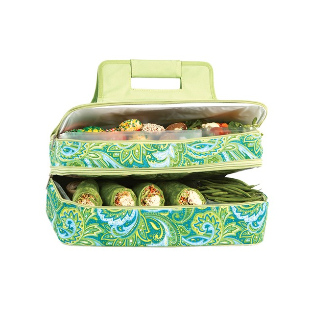 Picnic Plus Entertainer Hot & Cold Food Carrier Green Paisley