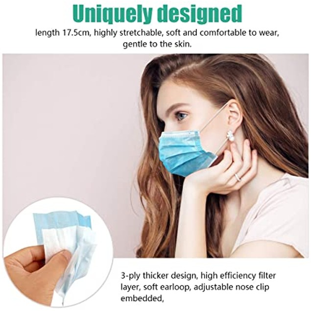 Blue Disposable Face Masks | 3-Ply Pack of 100