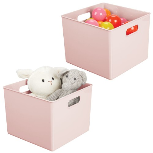 mDesign Storage Organizer Bin with Handles for Cube Furniture