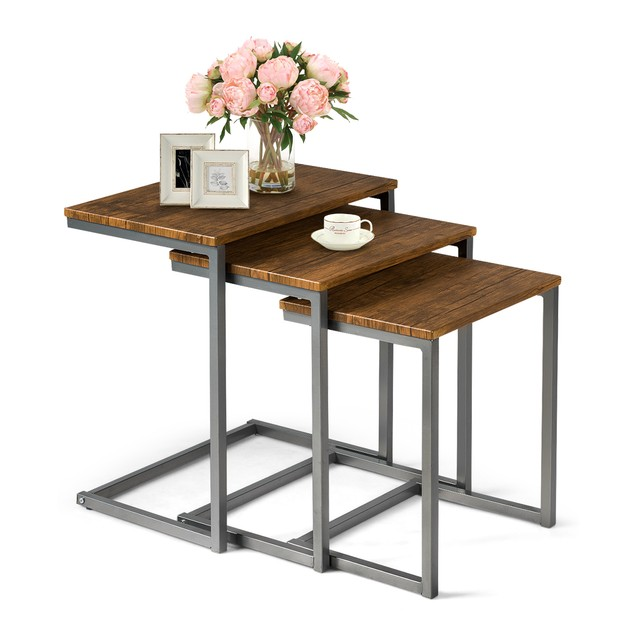 Costway 3 Piece Nesting Coffee End Table Stacking Set