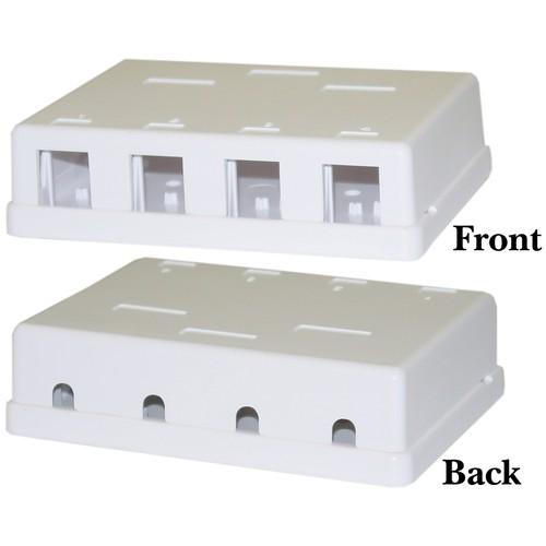 Blank Surface Mount Box for Keystones, 4 Hole, White