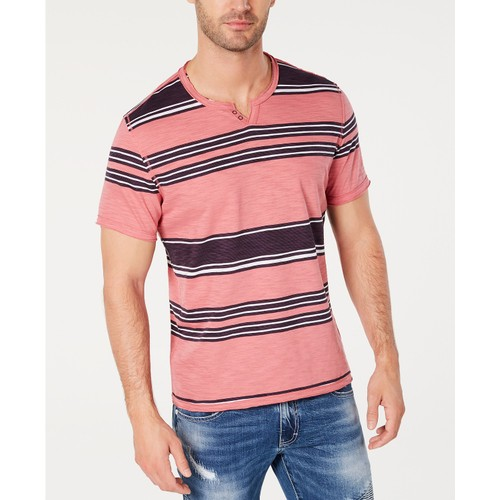 INC Men's Stripe Split-Neck T-Shirt Medium Pink Size X-Large