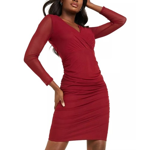 QUIZ Women's Ruched Bodycon Dress Red Size 12