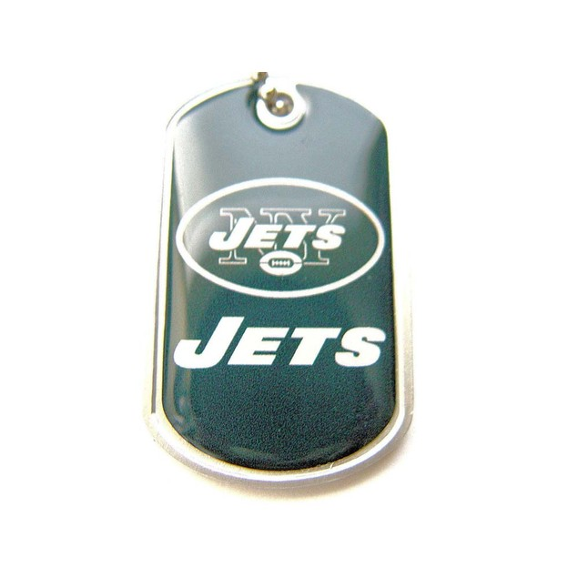 New York Jets Dog Tag Domed Necklace Charm Chain NFL