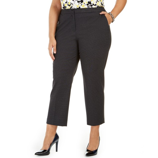 Kasper Women's  Plus Size Elastic-Back Pants Charcoal Size Small Petite