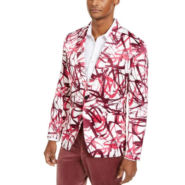 INC International Concepts Men's Slim-Fit Scribble Blazer Size  Large