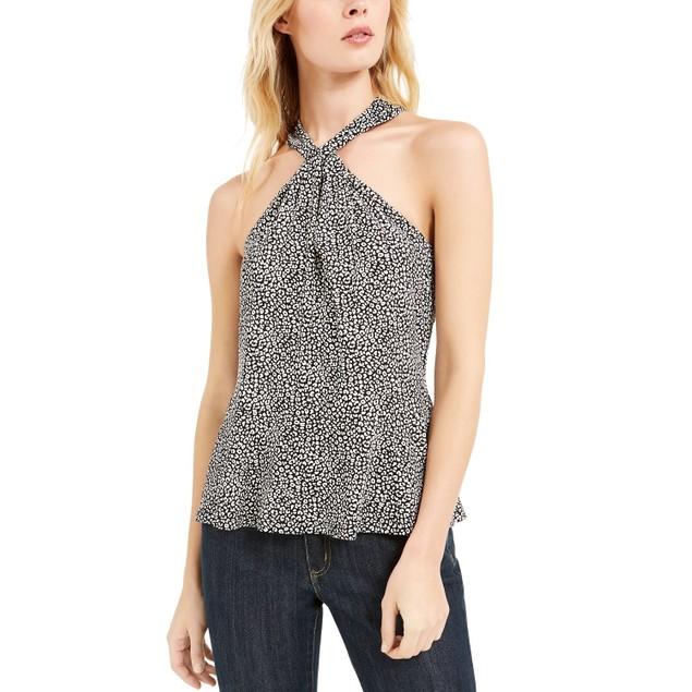 Michael Kors Women's Animal-Print Twist Halter Top White Size X-Small