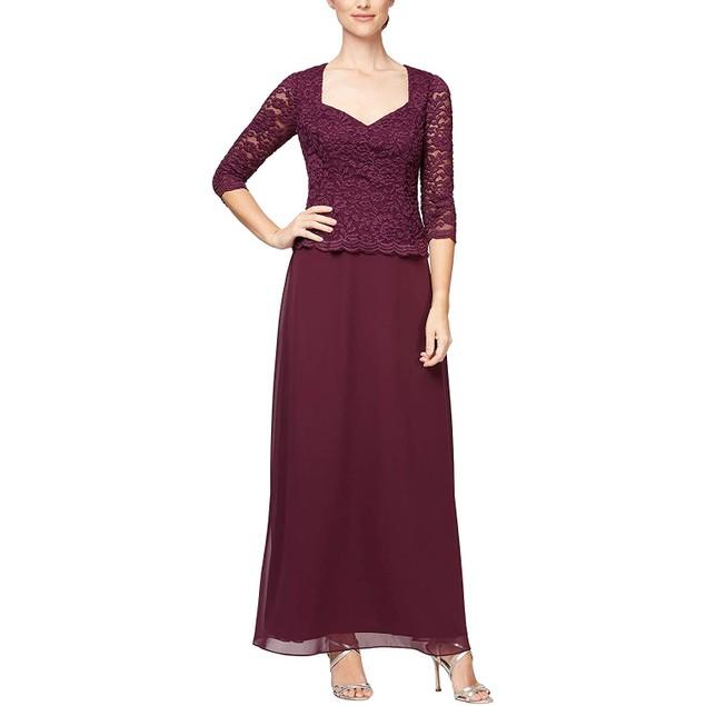 Alex Evenings Women's Long Sequin Sweetheart Neckline Lace Mock Dress, 8,