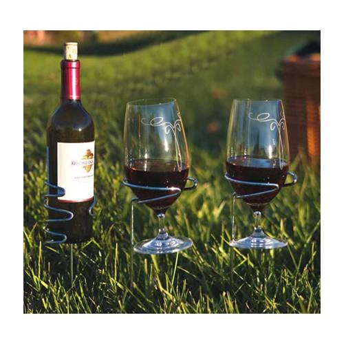 Picnic Plus Handy Holder Combo (2) Wine Glasses, (1) Bottle Holders Silver