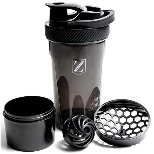 Zoyer Protein Shaker Bottle Black 24 oz. With Twist and Lock Protein Storage Box