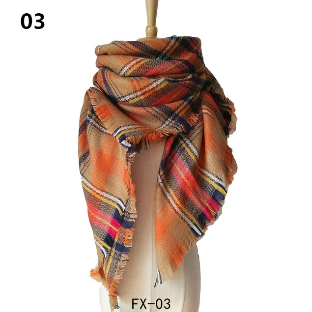 Ladies Double-Sided Colorful Plaid Square Scarf Shawl