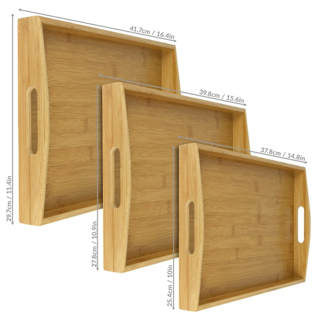 Bamboo Serving Trays - Set of 3   MandW