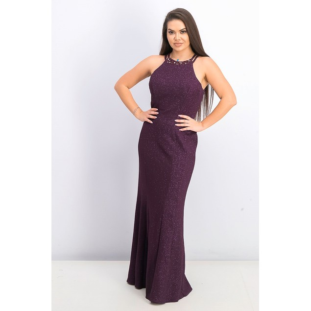 Nightway Women's Glitter Knit Gown Dark Purple Size 12