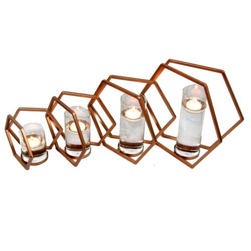 Spura Home Double Hexagonal Iron Candle Holder Copper Brown