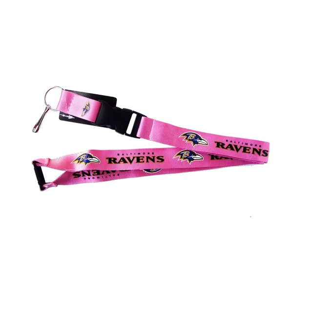 NFL Lanyard Keychain Batch Id Holder Baltimore Ravens - Pink