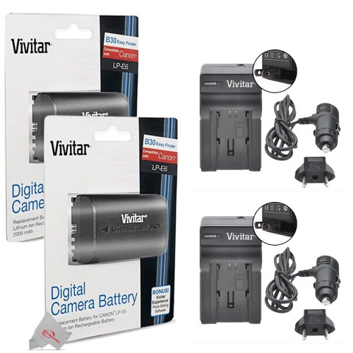 Two Packs Replacement Battery for Canon LP-E6 + Two Vivitar LC-E6 Replacement Rapid Charger for Canon LP-E6 For 90D 80D 5D 6D 7D