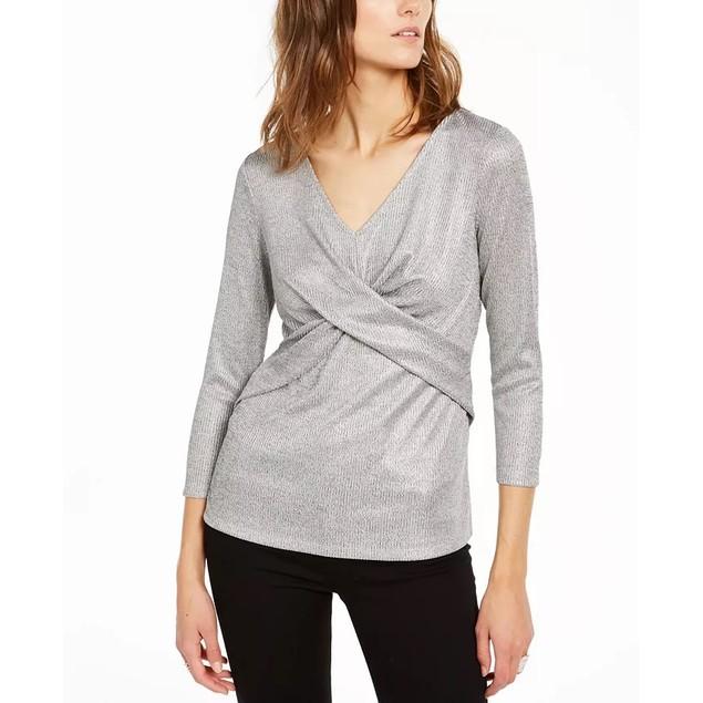 INC International Concepts Women's Criss Cross Shine Top Silver Size Medium