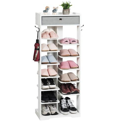 Costway Wooden Shoe Rack w/Fabric Drawer Shoe Storage Shelf White\Black