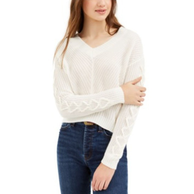 Almost Famous Juniors' Lace-Up Sweater White Size Extra Large