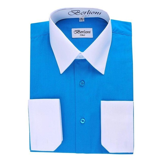 Mens Two-Tone Dress Shirt Turquiose / White Dress Shirt N507