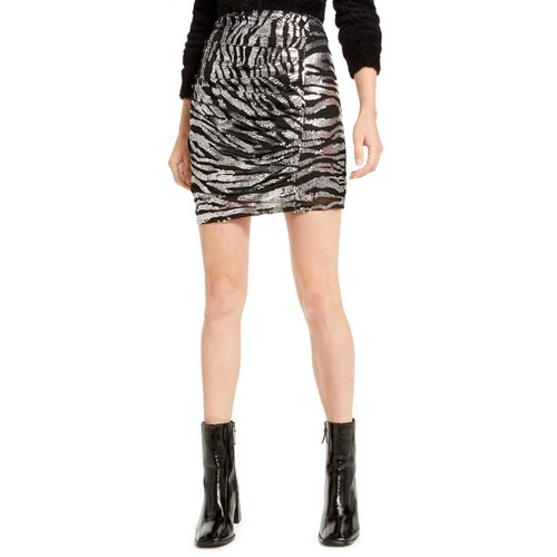 Bar III Women's Zebra Sequin Mini Skirt Black Size Extra Small