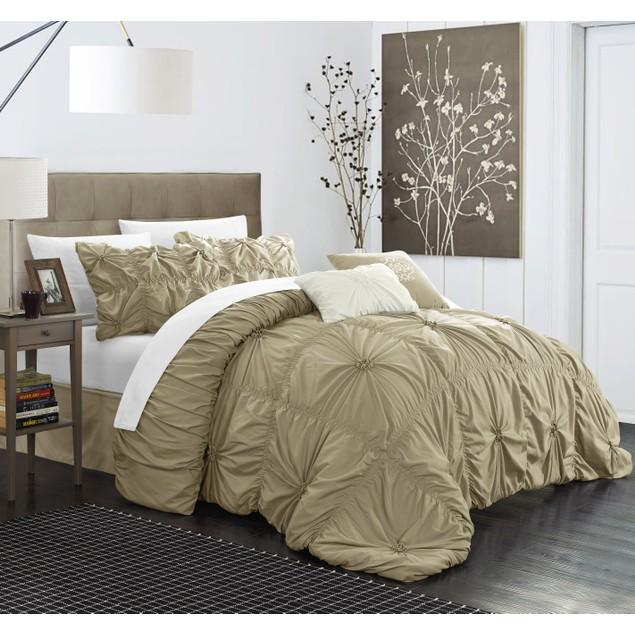 Chic Home Halpert Floral Pinch-Pleat Embellished Comforter Set