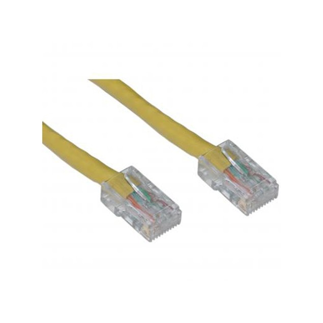 Cat5e Yellow Ethernet Patch Cable, Bootless, 7 foot