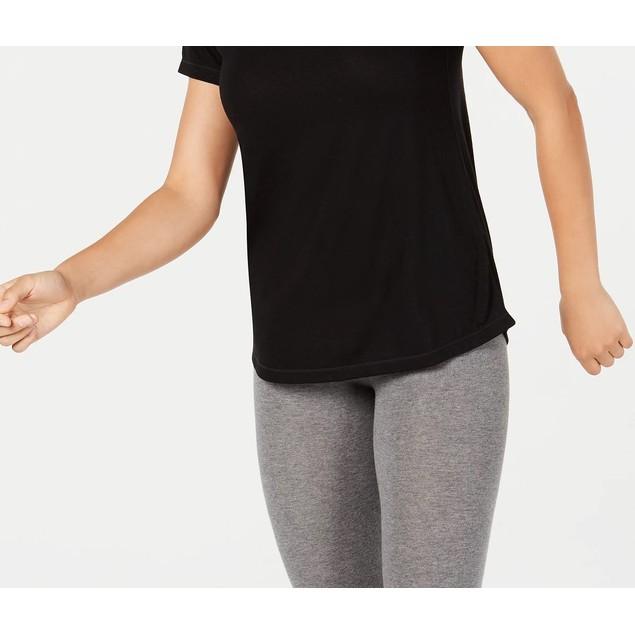 Ideology Women's Mesh-Back T-Shirt Black Size Large