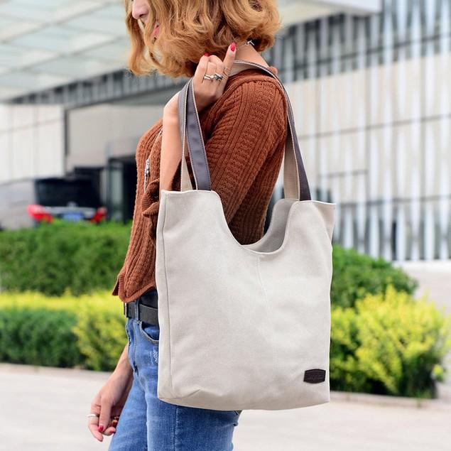 Retro Fashion All-match Beige Canvas Shoulder Handbag