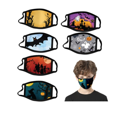 6-Pack Assorted Halloween Kids Reusable Washable Masks