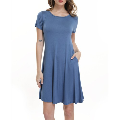 Women's Casual T Shirt Swing Dress With Pockets (S-2X)