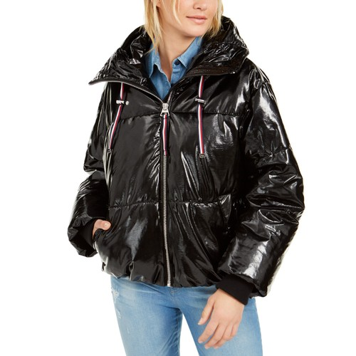 Tommy Hilfiger Women's Shiny Hooded Puffer Coat Black Size Extra Large