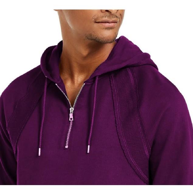 INC International Concepts Pieced Quarter-Zip Hoodie Purple Extra Small