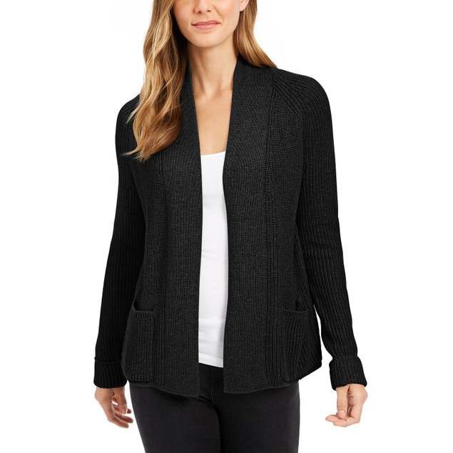 Charter Club Women's Petite Cotton Cropped Cardigan Black Size Petite