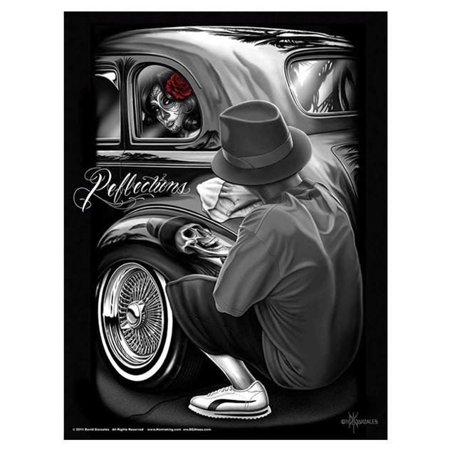 "Dga Reflections Poster 24"" x 36"" David Gonzales Art Skull Gothic Car"