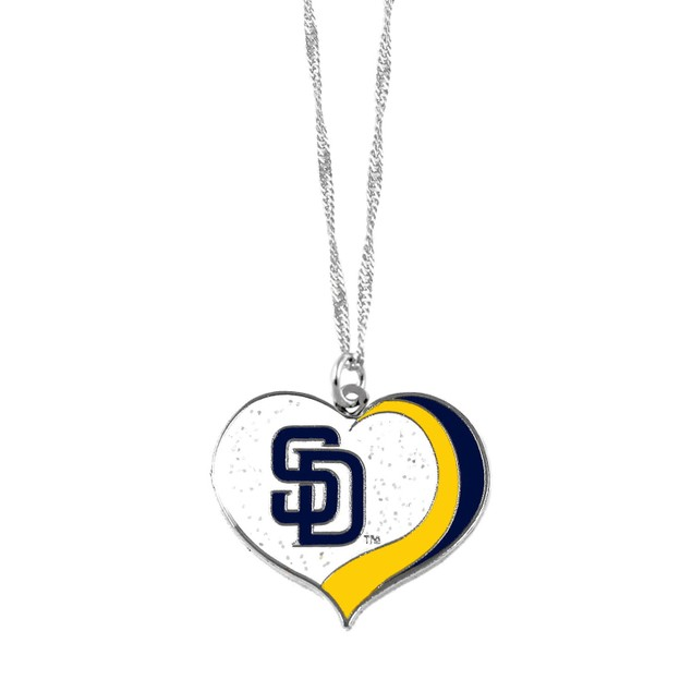 San Diego Padres MLB Glitter Heart Necklace Charm Gift