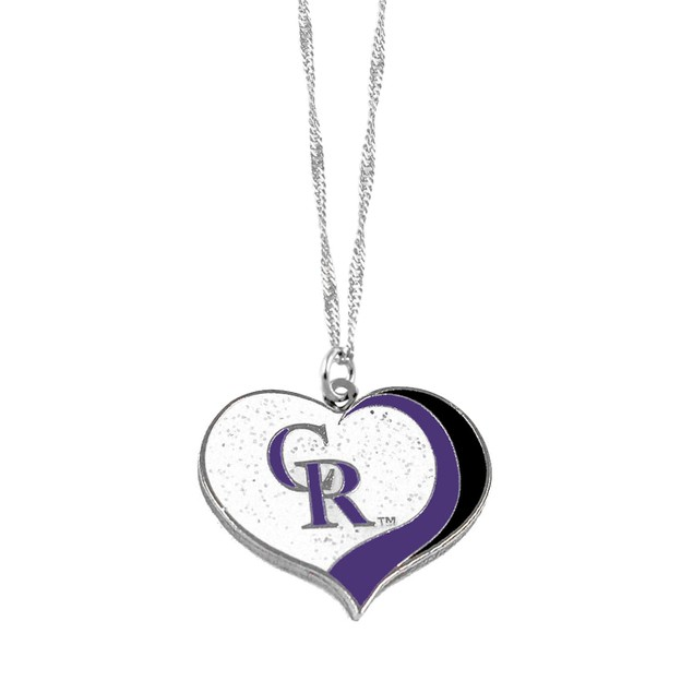 Colorado Rockies MLB Glitter Heart Necklace Charm Gift