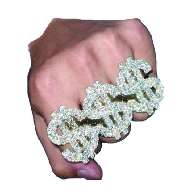 3 Finger $ Ring Money $$$ Bling Dollar Sign Pimp Rapper Costume