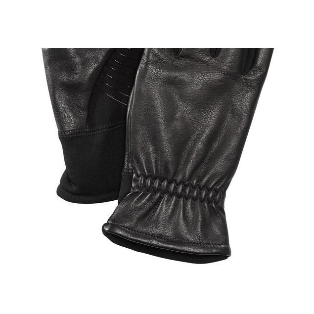 Ur Men's Gathered-Wrist Leather Gloves Black Size Regular