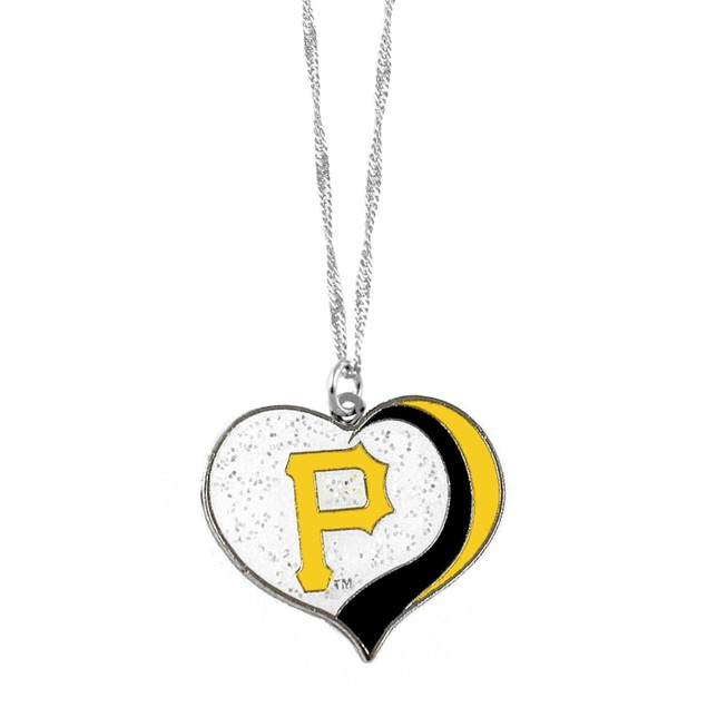 Pittsburgh Pirates MLB Glitter Heart Necklace Charm Gift