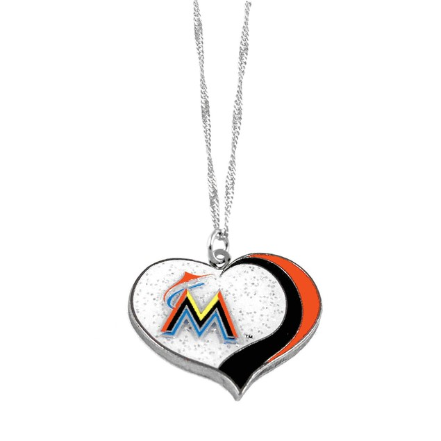 Miami Marlins MLB Glitter Heart Necklace Charm Gift