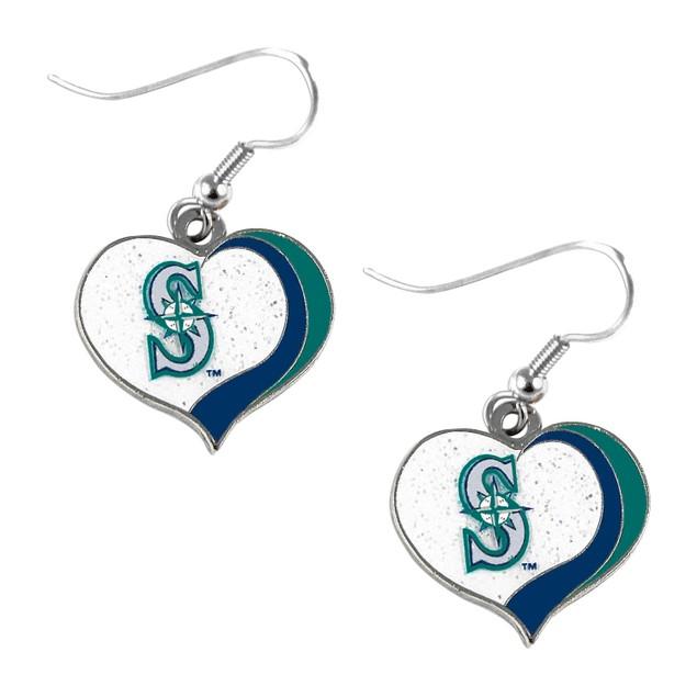 Seattle Mariners MLB Glitter Heart Earrings Swirl Charm Set