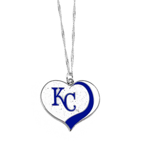 Kansas City Royals MLB Glitter Heart Necklace Charm Gift