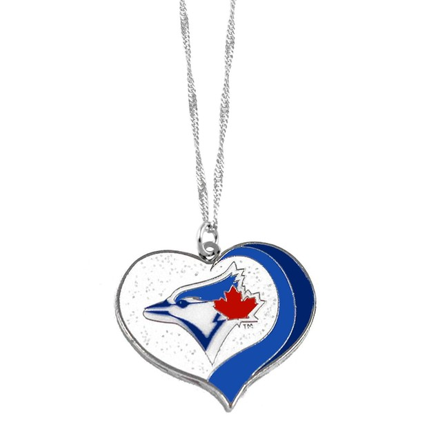 Toronto Blue Jays MLB Glitter Heart Necklace Charm Gift