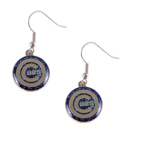 Chicago Cubs Glitter Sparkle Dangle Logo Earring Set Charm Gift MLB